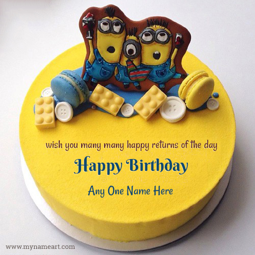 Happy Birthday Minion Cake For Kids Name Picture