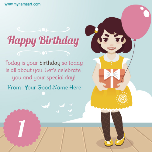 Edit girl with balloon and gift birthday card with kids name happy birthday wishes with name and year bookmarktalkfo Image collections