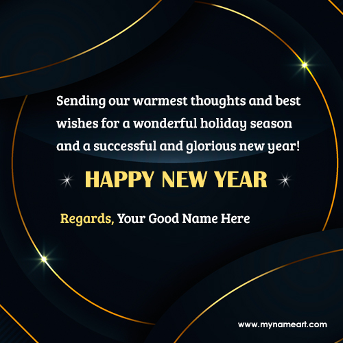 Happy New Year 2020 Greeting Card With Name & Photo
