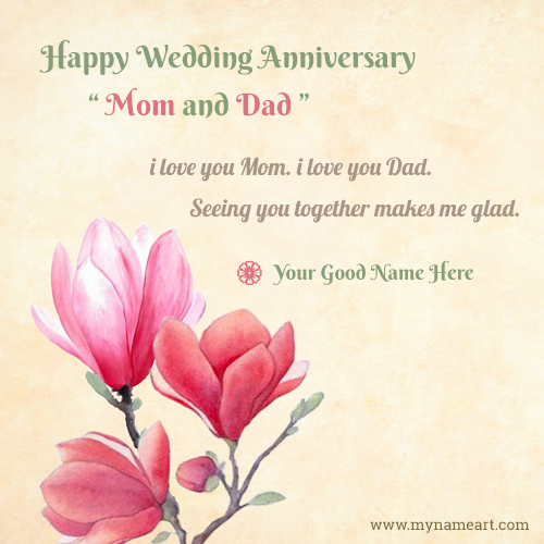 Online anniversary card maker free parents anniversary cards with my name m4hsunfo