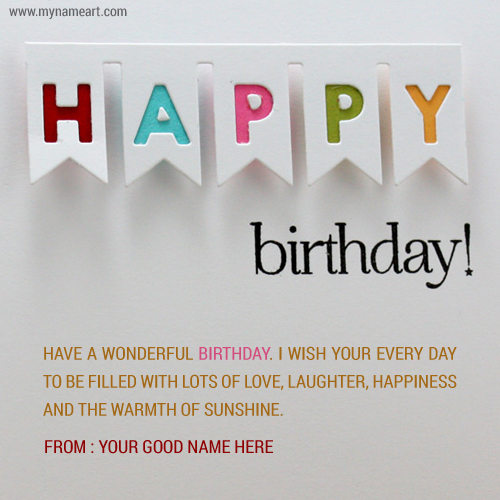Have A Wonderful Birthday Card Edit With Name