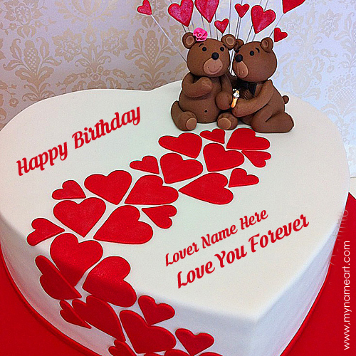 Write Name On Heart Birthday Cake For Lover wishes greeting card