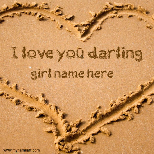Sand Writing Darling Name On Heart Drawing