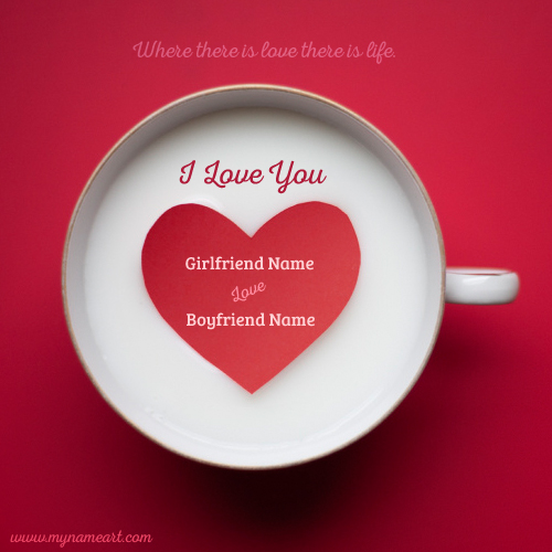 Lover Name Writing On Love Coffee Cup