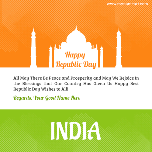 Taj Mahal Image With My Name Republic Day