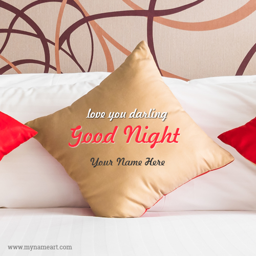 Golden pillow image with good night custom name pictures wishes create card m4hsunfo Image collections