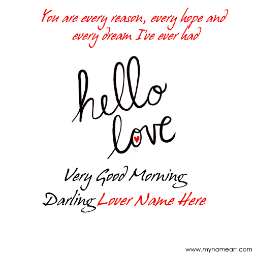 Want To Write My Lover Name On Good Morning Image