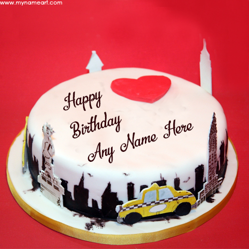 Write Name In City Birthday Cake Pics Wishes Greeting Card