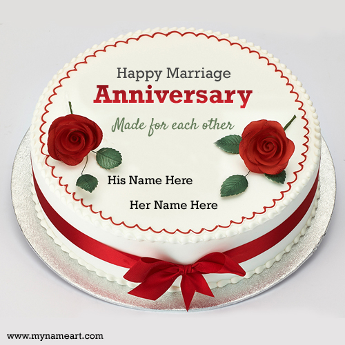 Cake Images With Name Kavita : Red Anniversary Cakes With Couple Name Edit Online Free ...