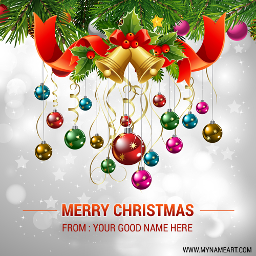 merry christmas images with name editor christmas ornaments pics edit online and write your name wishes greeting card