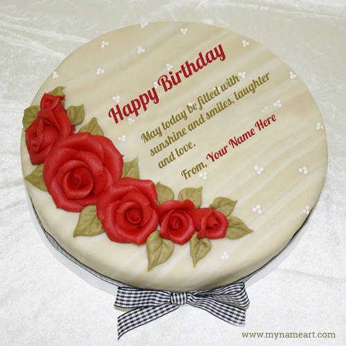 Red Rose Floral Art Birthday Cake With Name Editing