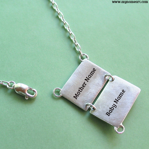 Cool Silver Necklace With Mother And Baby Name
