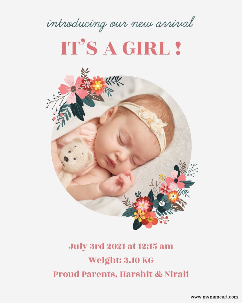 New Arrival Baby Girl Greetings