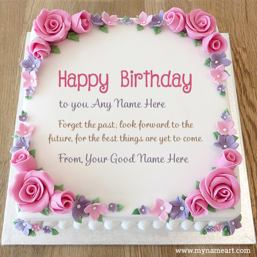 Write His Or Her Name On Birthday Cake wishes greeting card