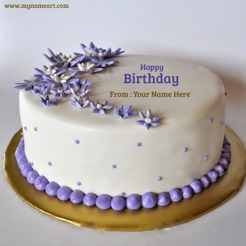 Writing Good Name On Purple Birthday Cake Pictures For Friend And Family