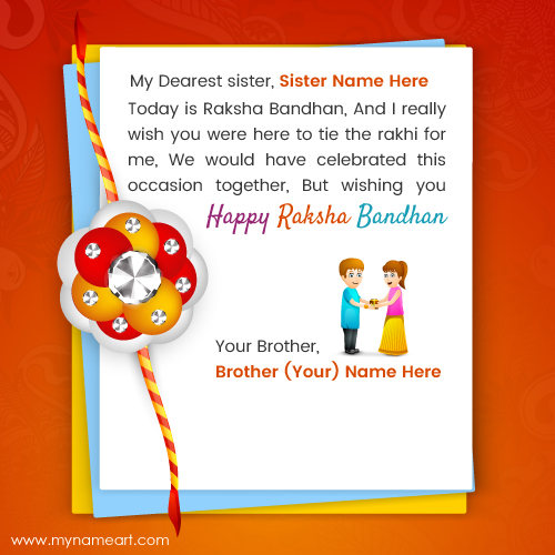 Write name on sister tie rakhi on brother hand image wishes create card m4hsunfo