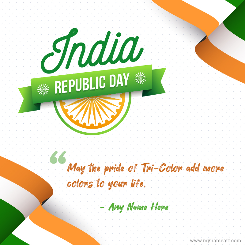 Republic Day Of India Greeting Card With Name