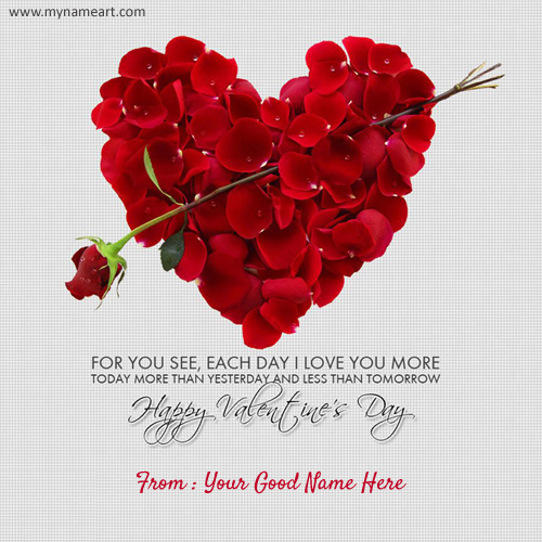 Rose Heart Valentine Day Quotes Pics With Name