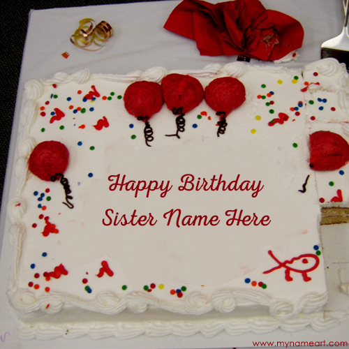 Big Decorated White Birthday Cake Image Edit With Sister Name