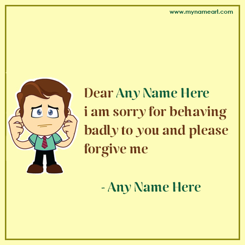 Sorry Apology Letter With Name wishes greeting card