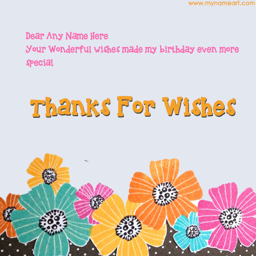 Write Stylish Name In Thanks For Wishes Card Pics – Thanks for Birthday Card