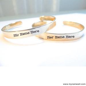 Cute Couple Name On Golden Hand Cuff Bracelet