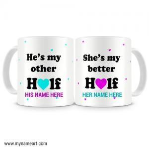 Coffee Mug Set With Better Half And Other Half Name Pictures