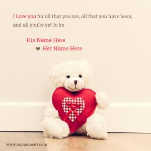 Cute Couple Quotes With Teddy Bear Heart Picture