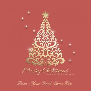 Writing Your Name On Merry Christmas And New Year Wishes Image