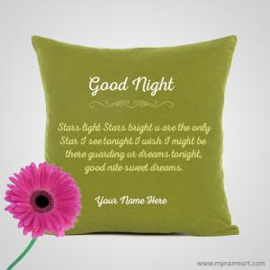 Good Night Green Pillow Image