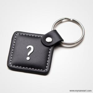 Black Leather Keychain Picture With Name Alphabet Write