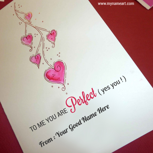 Hand Drawn Heart On Love Card Image Edit With Name