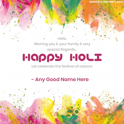 Write Name On Dhuleti Greetings Cards 2018