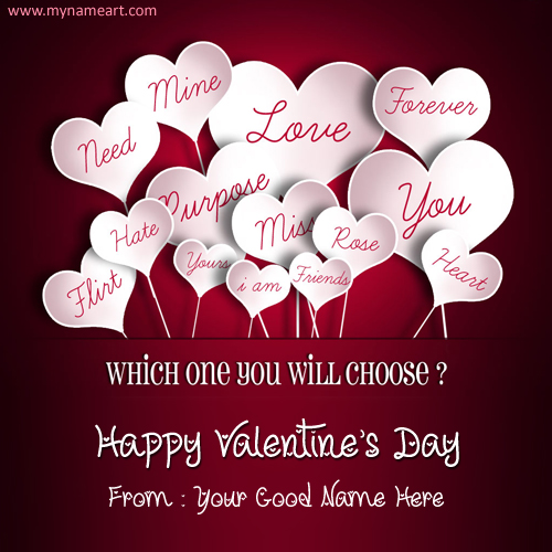 Valentine day wish card image with name create free wishes create card m4hsunfo