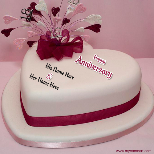 Write Name On Anniversary Cake Images : Image Gallery happy anniversary heart cakes
