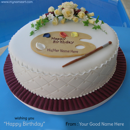Create Card Write Name On Birthday Cake