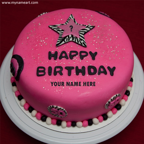 Sensational Write Name On Pink Birthday Cake With Year Personalised Birthday Cards Rectzonderlifede