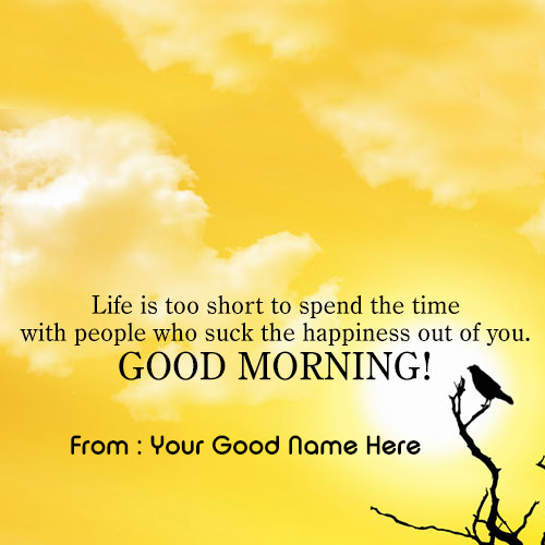 Blessing message pics with my name wishes greeting card bird on the branch good morning m4hsunfo