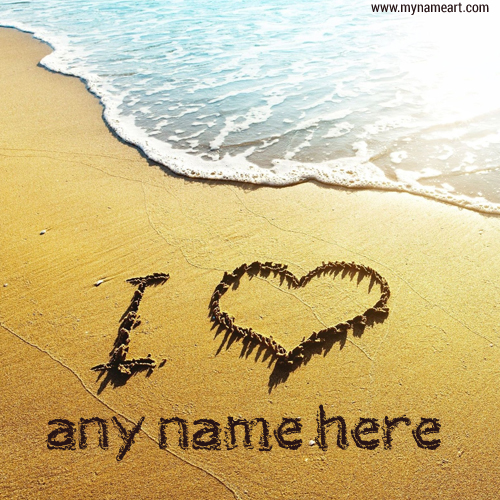I Love You With Name Beach Sand Writing Image
