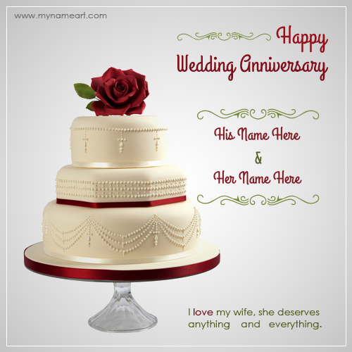 Writing Name On Wedding Anniversary Wishes Greeting Card | wishes ...