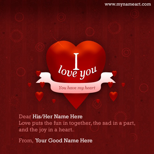 write couple name on valentines day wish quotes card image